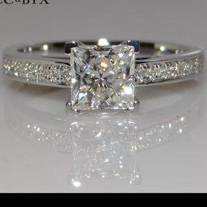 *14K White Princess Square Diamond Engagement Ring